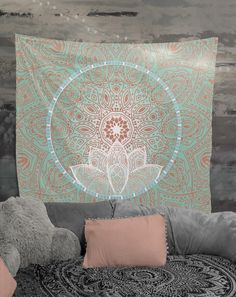 Peach Lotus Mandala Tapestry Wall Hanging Art Meditation Yoga Buddha Hippie With Images Mandala Tapestries Wall Hangings Mandala Tapestry Tapestry Wall Hanging