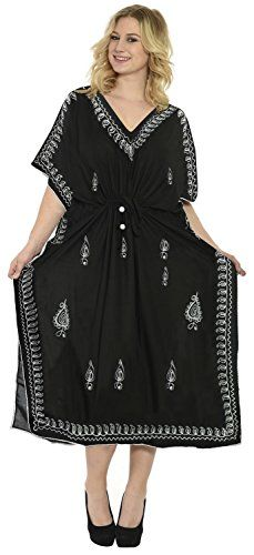 375de986c1ec1 Womens Embroidered Swimwear Beach Dress Dress Caftan Black Plain US 14 18W  Spring Summer 2017 *