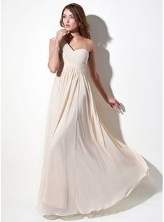 A-Line/Princess One-Shoulder Floor-Length Chiffon Lace Holiday Dress With Ruffle Beading (020016076) - JJsHouse