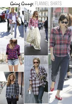 Going Grunge: Flannel Shirts...for all us girls who were teens in the 90's...it's baaack