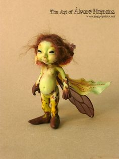 Green leopard orchid sprite - Resin casted OOAK art doll