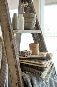 Styleandfocus.com.au vintage ladder display. lovely homewares at Ma Cuisine, Applecross, Western Australia
