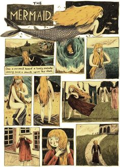 The Mermaid by Briony May Smith Page 1 - Finished my Cornish fairy tale project! Based on the story of the Mermaid of Zennor. This is my contribution to a collaborative project with Josh Oliver and Tashi Reeve - inspired by our time studying in Cornwall. Storyboard, Fairy Tale Projects, Bd Art, Comic Layout, Graphic Novel Art, Dibujos Cute, Bd Comics, Book Illustration, Fairy Tale Illustrations
