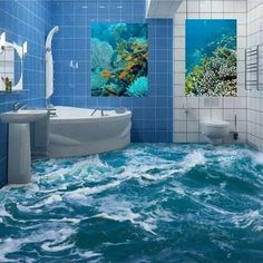 Custom 3D Floor Mural Wallpaper Sea Water Wave Bathroom 3D Floor Mural PVC Waterproof Self-adhesive Vinyl Wallpaper Home Decor