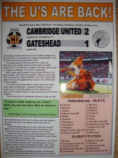 CAMBRIDGE UNITED 2 GATESHEAD 1 - 2014 CONFERENCE PLAY-OFF FINAL - SOUVENIR PRINT