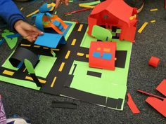 Grade 2 Road Safety. Create your own town. I simply left coloured paper on the carpet and told my second graders to use their creativity to create a town. This is an ideal activity for art as it incorporates creating in 3D as well as elements of road safety. They were expected to give verbal feedback about the rules of the road in the town they built (oral - english).