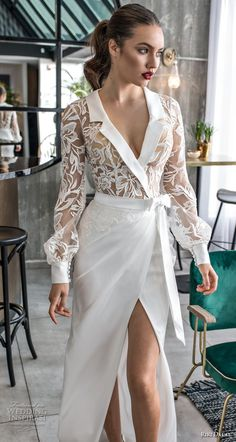 riki dalal 2018 noya bridal long sleeves notched collar v neck heavily embellished bodice slit skirt modern sophiscated sheath wedding dress sheer lace back sweep train (11) zv