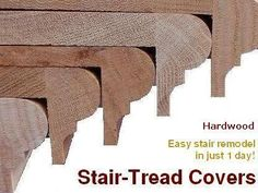 Replacement Stair Treads and Riser Covers : Stair-Treads. See how our replacemen… Replacement Stair Treads and Riser Covers : Stair-Treads. See how our replacement stair treads add beauty and value to your home in 1 Day. Stairs Treads And Risers, Wood Stair Treads, Replacing Stair Treads, Banisters, Railings, Stair Treds, Step Treads, Redo Stairs, House Stairs