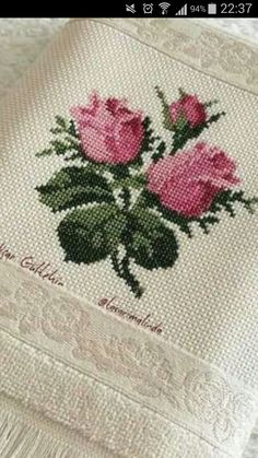 This Pin was discovered by Nur Small Cross Stitch, Cross Stitch Rose, Cross Stitch Flowers, Cross Stitch Designs, Cross Stitch Patterns, Rose Embroidery, Custom Embroidery, Cross Stitch Embroidery, Baby Dress Patterns