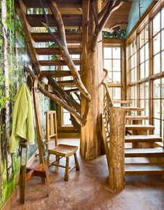 Staircase Ideas | Whimsical Interior | Indoor Tree | Nature Inspired | Green Home