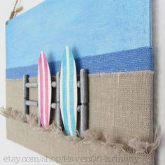 "Original Fabric Beach Illustration on Canvas Sign: ""Surf boards"" - Beach - Ocean - Coastal - Dunes - Horizon - Stripes - Fence - 3D"