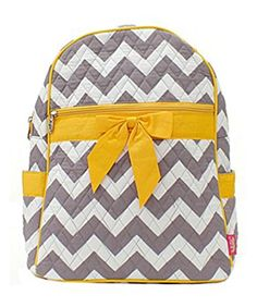 Quilted Gray And White Chevron Medium Backpack With Yellow Accents - Click image twice for more info - See a larger selection of yellow  backpacks at http://kidsbackpackstore.com/product-category/yellow-backpacks/ - kids, juniors, back to school, kids fashion ideas, teens fashion ideas, school supplies, backpack, bag , teenagers girls , gift ideas, yellow