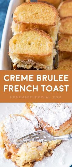 Creme Brulee French Toast My most requested recipe Overnight French toast flavored with a touch of orange liqueur thats baked casserole style on a bed of homemade caramel. Breakfast Desayunos, Breakfast Items, Breakfast Dishes, Breakfast Recipes, Breakfast Casserole, Breakfast Potatoes, Recipes Dinner, Creme Brulee French Toast, French Toast Bake
