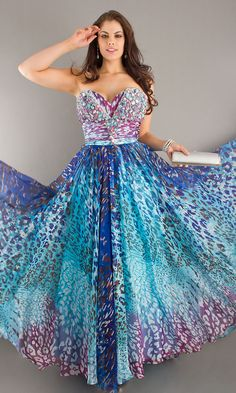 LONG STRAPLESS FULL FIGURE BLUE PRINT DRESS  Long print plus size strapless beaded printed chiffon formal gown by Tony Bowls. Matching shawl included.