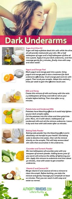 Effective natural cures and natural home remedies for dark underarms beauty tips. Skin whitening can easily be done by resorting to some simple home remedies. Skin Tips, Skin Care Tips, Diy Beauty Hacks, Beauty Ideas, Diy Hacks, Beauty Tricks, Dark Armpits, Dark Underarms Remedy, Brown Spots On Face