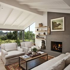 modern gas fire places with tv and bookshelves | Santa Barbara Home tv above fireplace Design Ideas, Pictures, Remodel ...