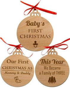 53be0aa07 Set of 3 Babys First Christmas Ornament 2018 | Our first Christmas as Mom &  Dad Engraved Family Ornament 2018 | My First Christmas Wood Cutouts.