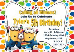 Despicable Me Inspired Invitation Minions by PinkInkPartyBoutique, $10.00