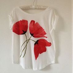 Items similar to Designer T-shirts for Mothers and Daughters Hand Painted on Organic Cotton on Etsy Camisetas de grife para mães e filhas entregam por budsroses T Shirt Painting, Fabric Painting, Fabric Art, Fabric Crafts, Paint Shirts, Fabric Paint Designs, Hand Painted Fabric, Lesage, Painted Clothes
