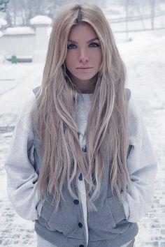 Very light ash blonde hair (long)