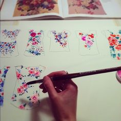 Designing a Print #floral #watercolor by janette