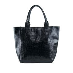 Black Croc Print Leather Tote - N1104 | Manzoni