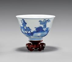17TH/18TH CENTURY BLUE & WHITE PORCELAIN BOWL the exterior with figural scene of a rider on donkey, with a worker carrying large flowering branch; D: 3 5/8""