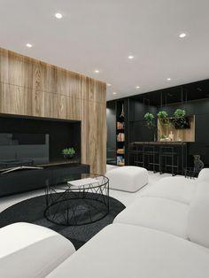 Fekete, fehér és fa - erős kontrasztokon alapuló dekoráció egy 55m2-es lakásban