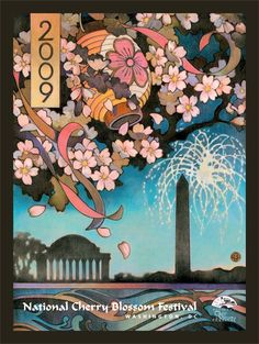 National Cherry Blossom Festival Poster by Carol Tomasik, 2009