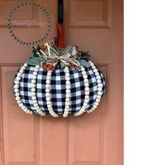 Pumpkin Door Hanger, Pumpkin Wreath, Pumpkin Crafts, Fall Crafts, Halloween Crafts, Halloween Coffin, Pumpkin Pumpkin, Dollar Tree Pumpkins, Dollar Tree Crafts