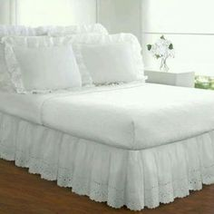 Ruffle Bed Skirts, Ruffle Bedding, Ivory Bedding, White Bedding, Dust Ruffle, Beds Online, Under Bed Storage, Comforter Sets, Navy Comforter