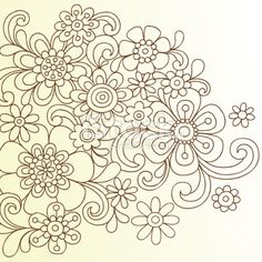 Henna Doodle Flowers Vector Royalty Free Stock Vector Art Illustration