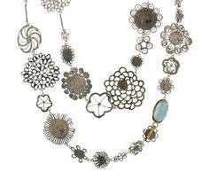 Judy Geib | Full Flowery Necklace with Aquamarine in Designers Judy Geib One-of-a-Kind at TWISTonline