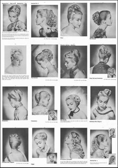 50's hairstyles....I like the like hair styles on the last row to the right