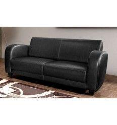 superbe canapé 3 places coloris noir simili cuir