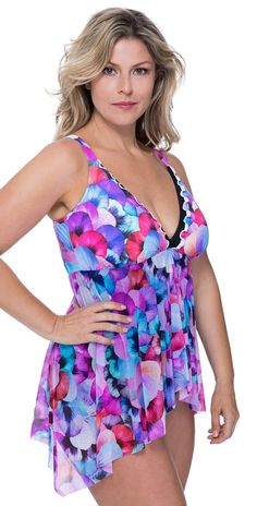 1f234f8a64f54 Profile by Gottex Women's Plus-Size Convertible V-Neck Flyaway One Piece  Swimsuit, Pocket Full of Posies Multi, 16W