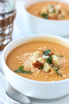 Creamy Roasted Garlic Cauliflower and Red Pepper Soup