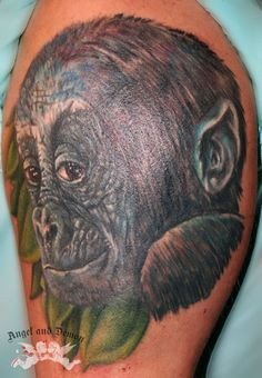 #tattoo #tattooshop #angelanddemon #bodyart #bodytattoo #ink #tattooink #permanentmakeup #piercing #brielle #monkey #ape #finelineart