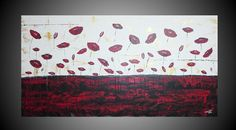 Oversized Abstract Acrylic Painting Red Poppies by acrylkreativ, $379.00