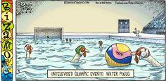 Este es un cómic con un juego de palabras. Muestra pollos jugando waterpolo. Spanish Puns, Bizarro Comic, Waterpolo, Spanish Chicken, Just A Game, Sports Games, Cute Comics, E Cards, Online Images