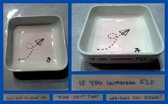 Funny little dish with porcelain paint. Made by jemkem.blogspot.com