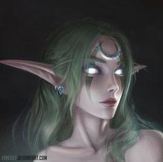 Night Elf Druid Female - World of Warcraft character fanart blue hair turquoise teal cyan Warcraft Art, World Of Warcraft, Fantasy Characters, Female Characters, Dnd Characters, Fictional Characters, Arcane Mage, Cyberpunk, Elf Drawings