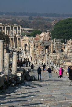 Curate's Street toward library, Ephesus, Turkey