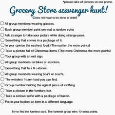 Grocery store scavenger hunt, could be done at Walmart, Kroger, Target or any other local grocery stores. Great idea for a teen birthday party or just a fun activity for a group of guys or girls! Birthday Party For Teens, Birthday Party Games, Teen Birthday, Birthday Woman, Birthday Board, Birthday Ideas, Birthday Recipes, Birthday Gifts, Happy Birthday