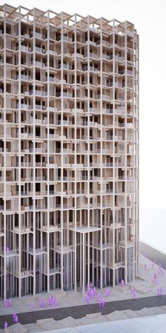 modular tower housing - Penda maquette terrassen structuur zonwering appartementen gevel