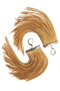Golden Short Fringe Earrings. $20.00 USD, via Etsy.