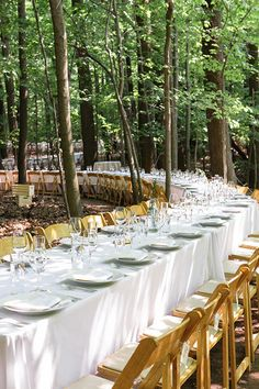 Perfect setup for a wedding in the woods | Brides.com
