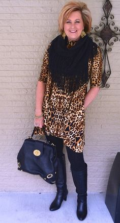 50 IS NOT OLD | LEOPARD PRINT AND PHYLLIS DILLER | Leopard Tunic + Leggings | Black & Brown | Fashion over 40 for the everyday woman