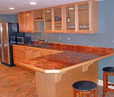 Colored Countertops   Countertop Recovered With Bamboo Copper Sheets With  Lacquer + Epoxy .