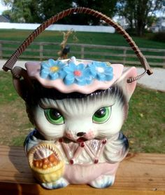 """Vintage Kitty Cat Biscuit Jar 5"""" Tall 3"""" High Cane Handle No Chips Excellent   eBay"""